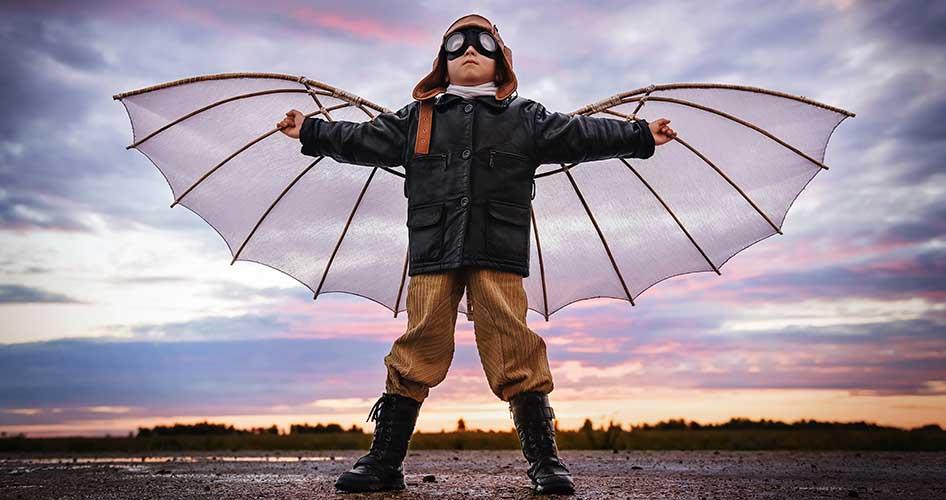 ילד עף בדמיון צילום פורטרט
